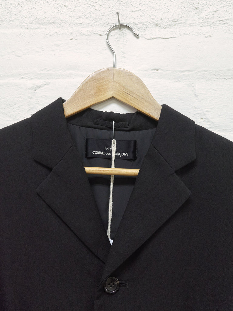 Tricot Comme des Garcons 1998 black wool layered pocket flap blazer - womens M S