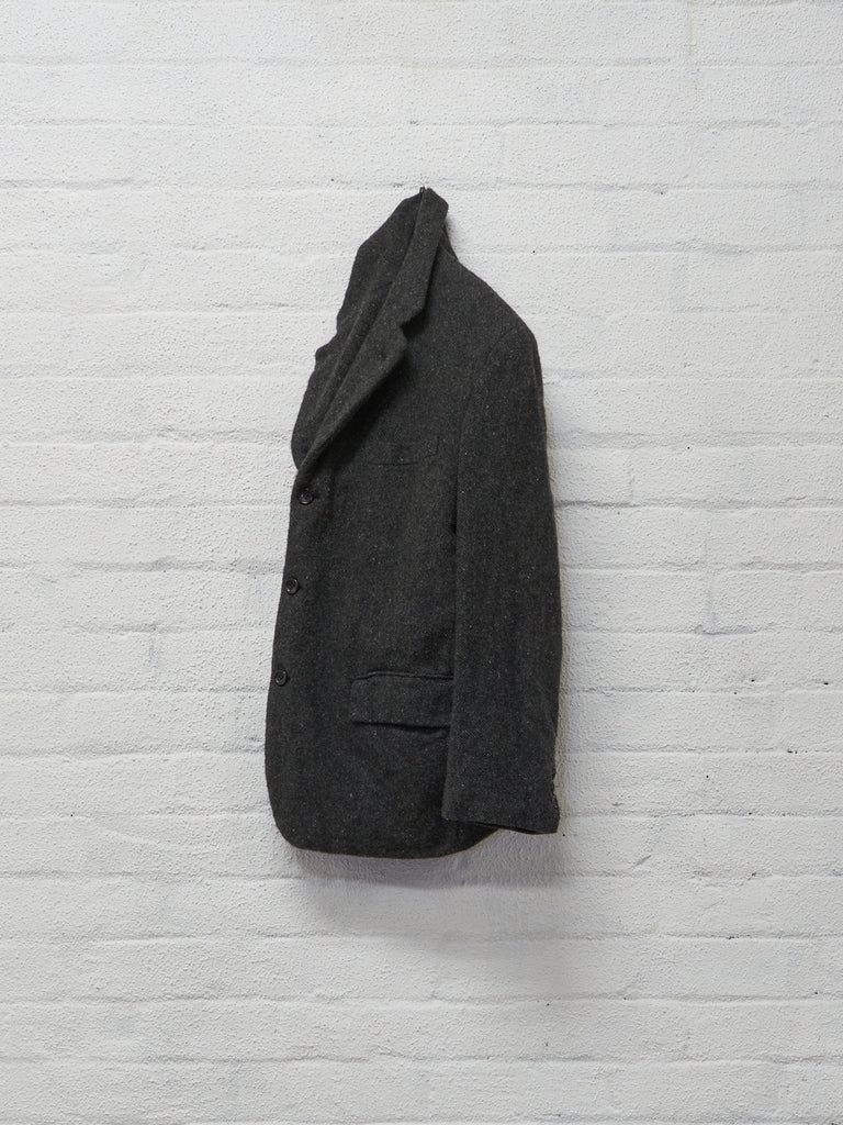 comme des garcons homme grey boiled wool 3 button blazer - 2003