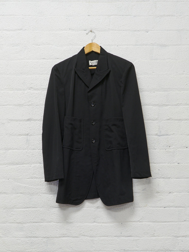 Comme des Garcons 1997 black wool peak lapel patch pocket blazer - womens S M