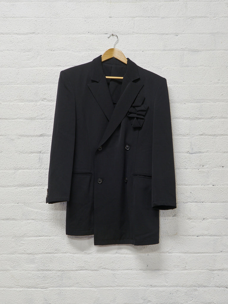Y's Yohji Yamamoto 1980s black wool double breasted fabric ribbon blazer - sz M