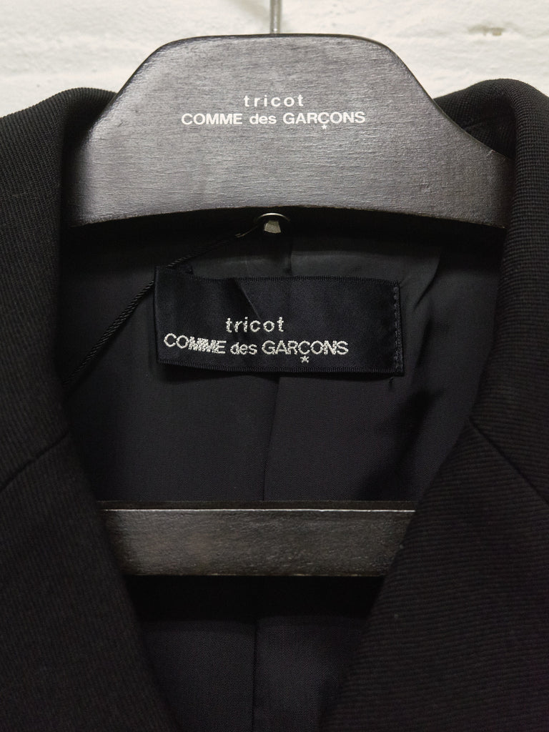 tricot comme des garcons black wool gabardine boxy double breasted pea coat - 1990s