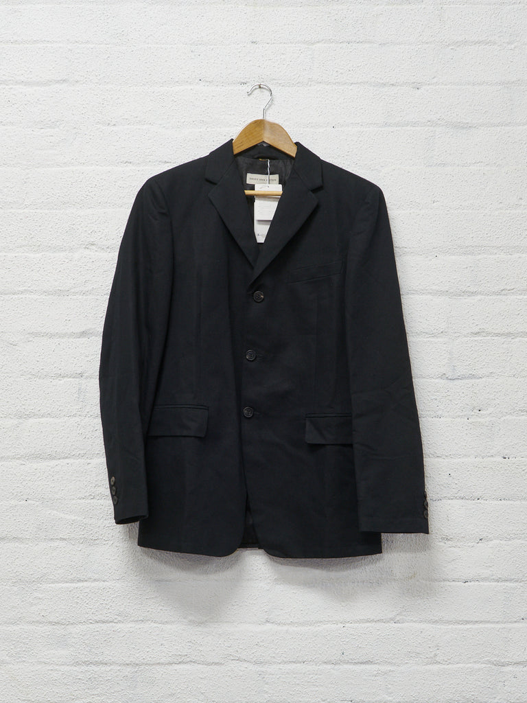 Dries Van Noten 2010 black cotton linen 3 button blazer - size 48 / S-M