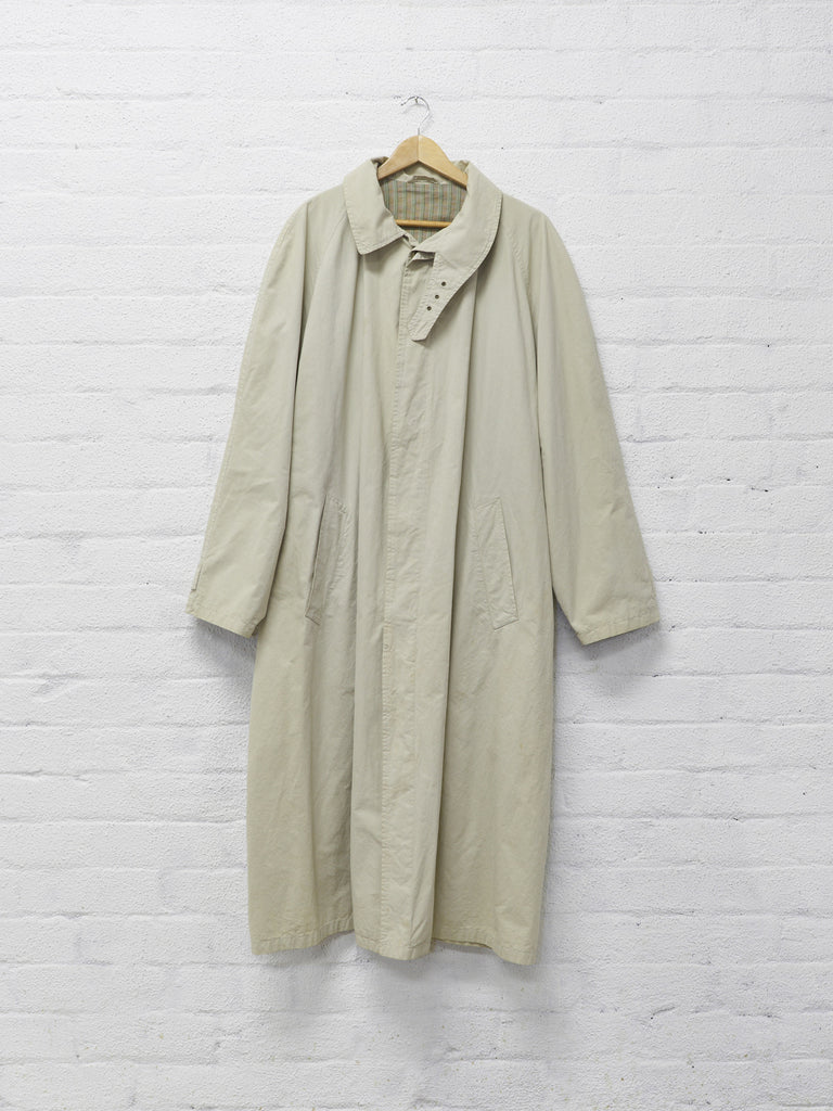 giorgio armani beige cotton covered placket mackintosh coat - 1990s