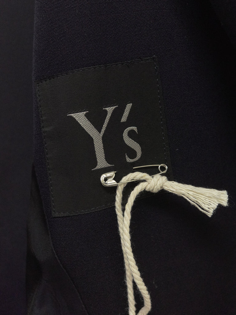 Y's yohji yamamoto dark navy wool 3 button side tab coat - 1990s