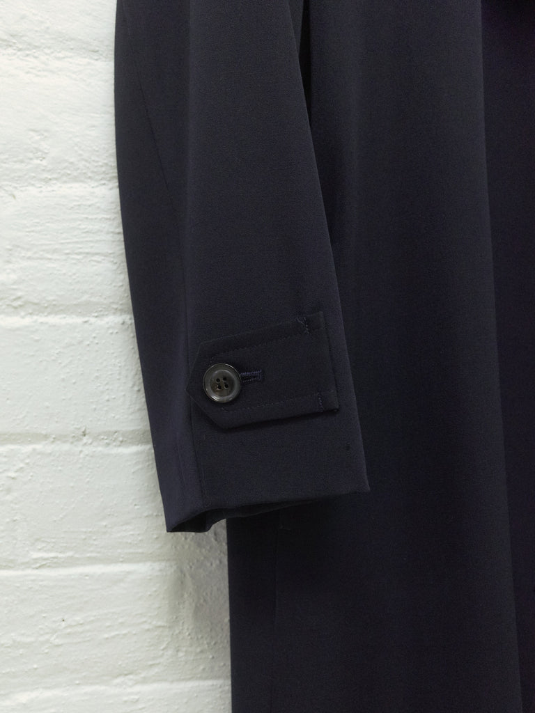 Y's Yohji Yamamoto 1990s dark navy wool 3 button side tab coat - womens S M L