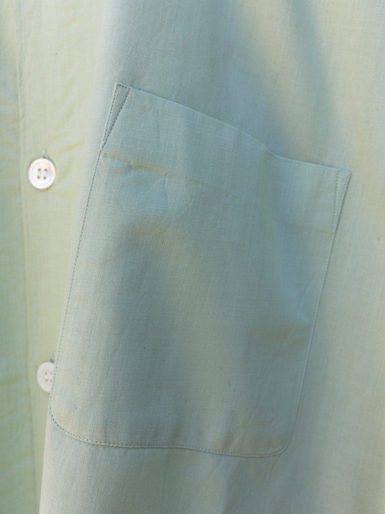 comme des garcons homme green oversized short sleeve shirt - 1998