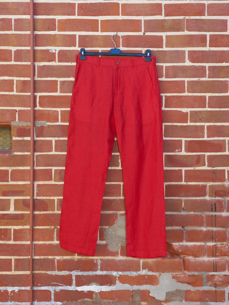 comme des garcons homme homme red linen trousers - 1998