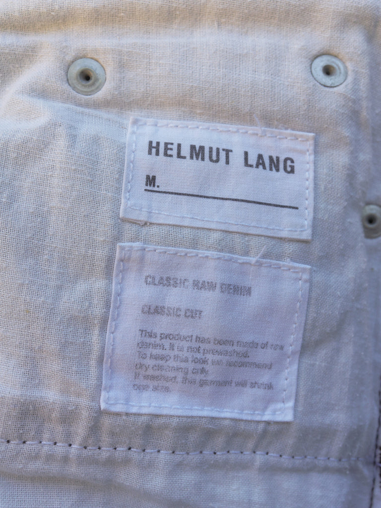 helmut lang grey raw denim 'classic cut' jeans