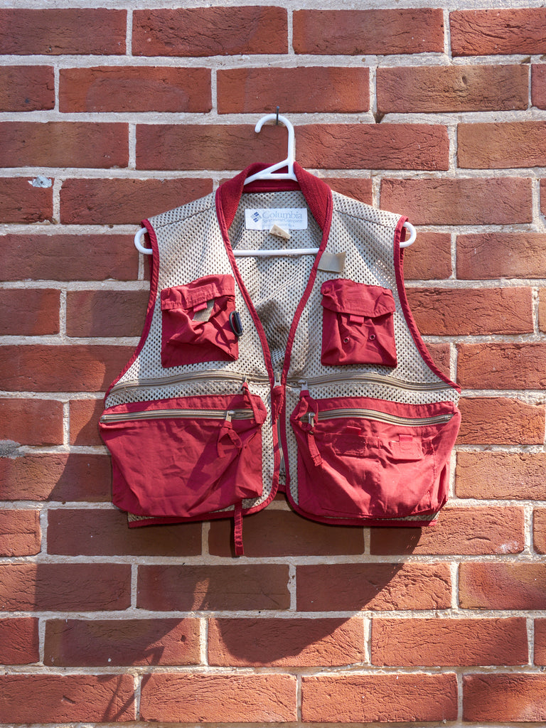 columbia red / beige mesh multipocket PFG vest - 1990s