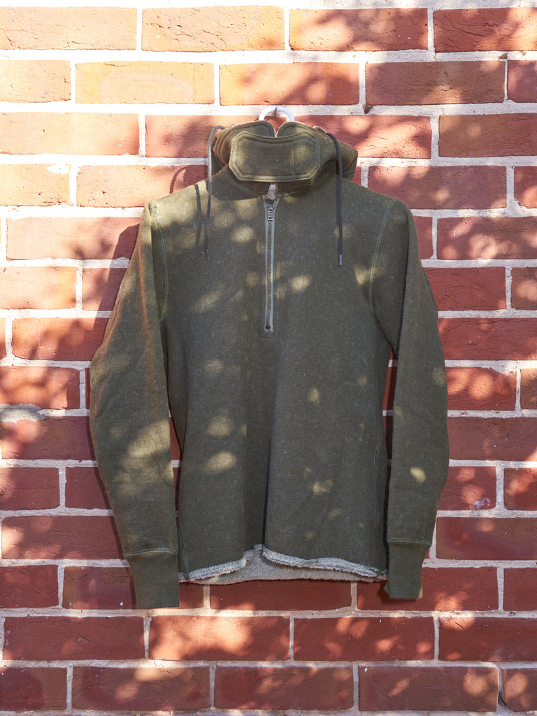 junya watanabe comme des garcons khaki wool high neck hooded pullover - AW2010