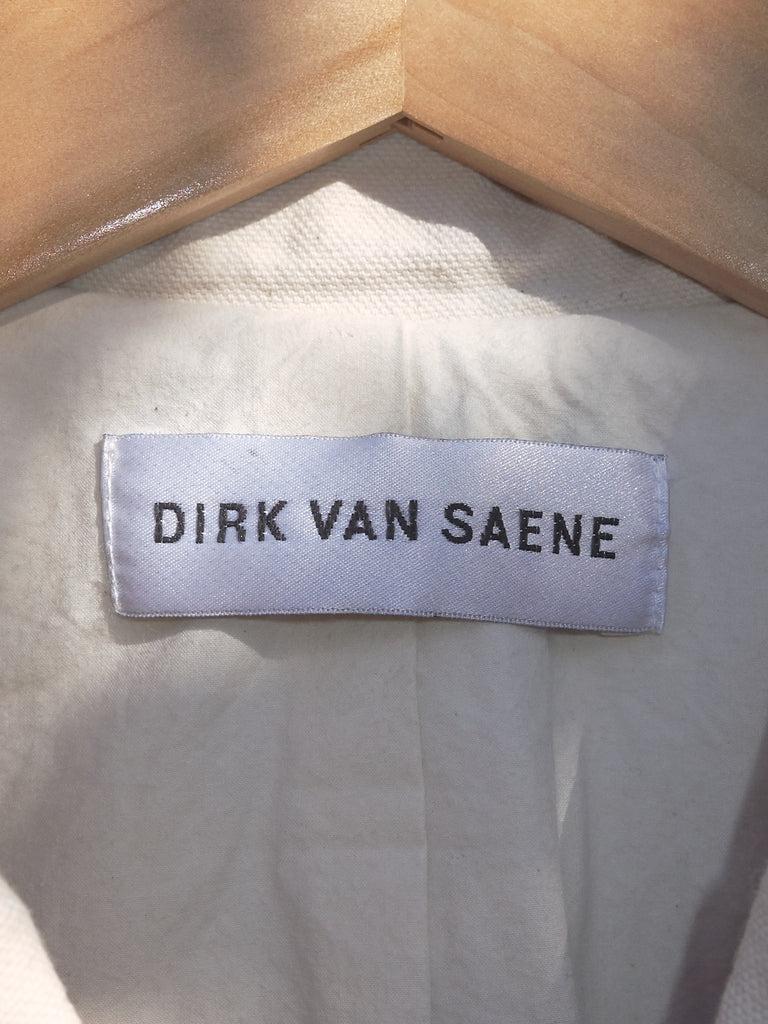 dirk van saene unbleached cotton canvas 'shrink to fit' blazer - SS1999