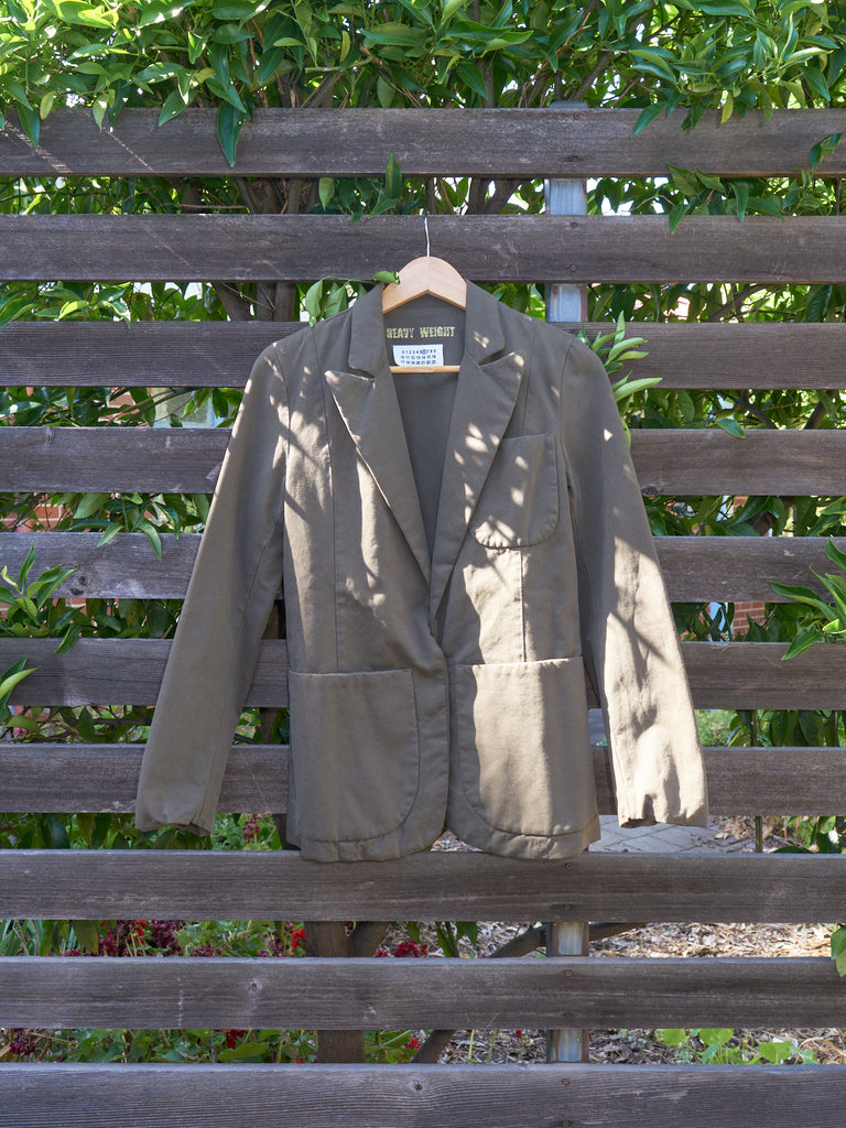 maison martin margiela 6 khaki cotton 'heavy weight' patch pocket blazer - 2000s