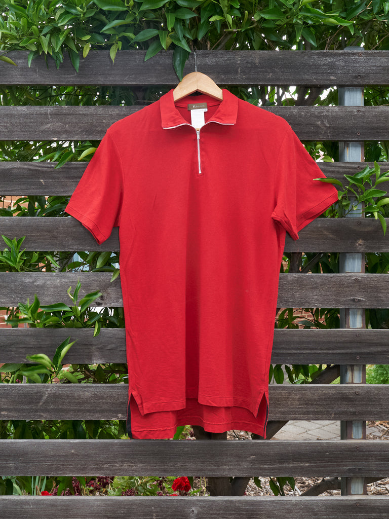 y's for men red cotton zipped high neck short sleeve top - SS2001