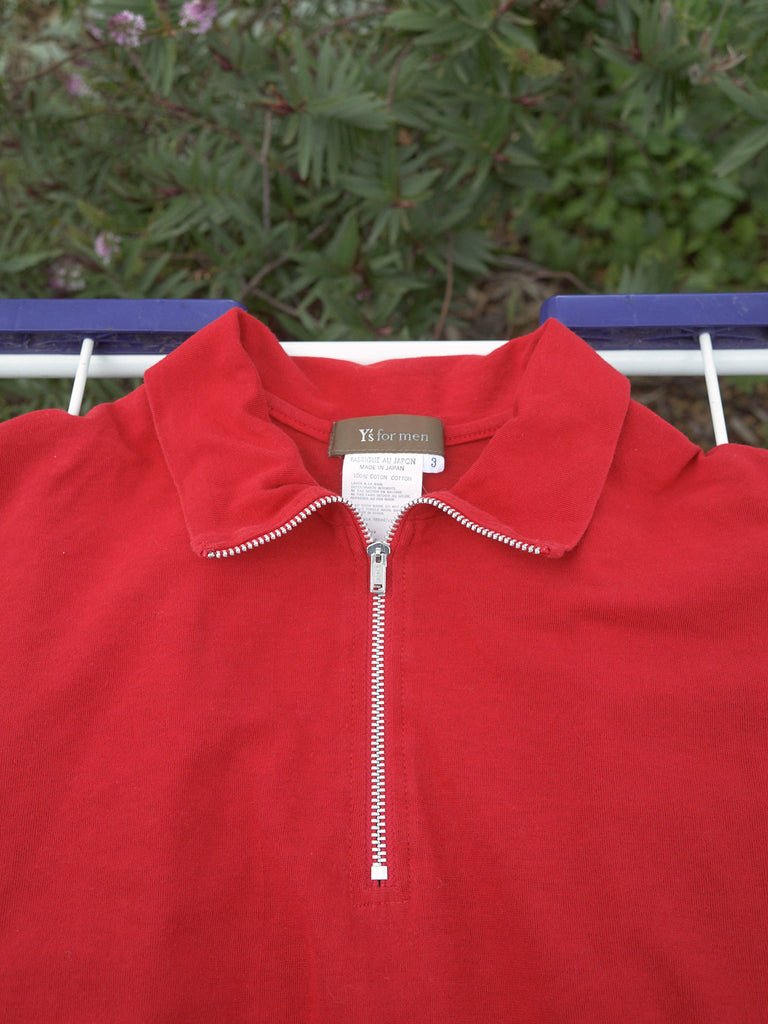 Y's for Men Yohji Yamamoto SS2001 red cotton zipped neck polo shirt - mens S M