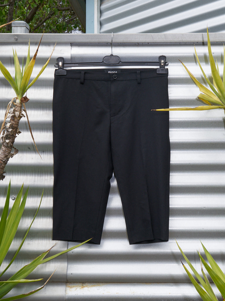 zucca black wool blend tailored shorts