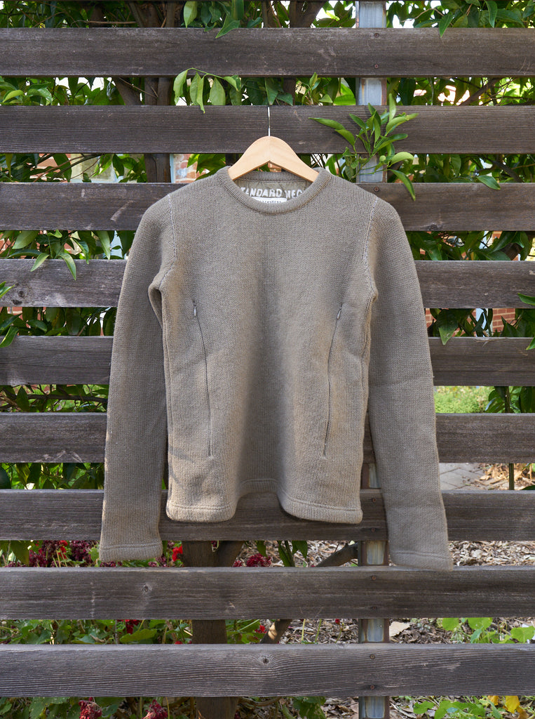 maison martin margiela line 6 khaki wool 'STANDARD NECK' zip pocket jumper - 90s