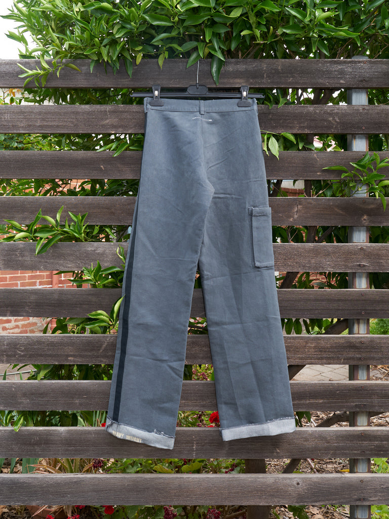 maison martin margiela 6 grey cotton 'heavy weight' side stripe trousers - 2000s