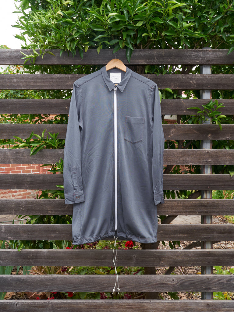 comme des garcons homme grey zipped drawstring hem shirt jacket - 1996