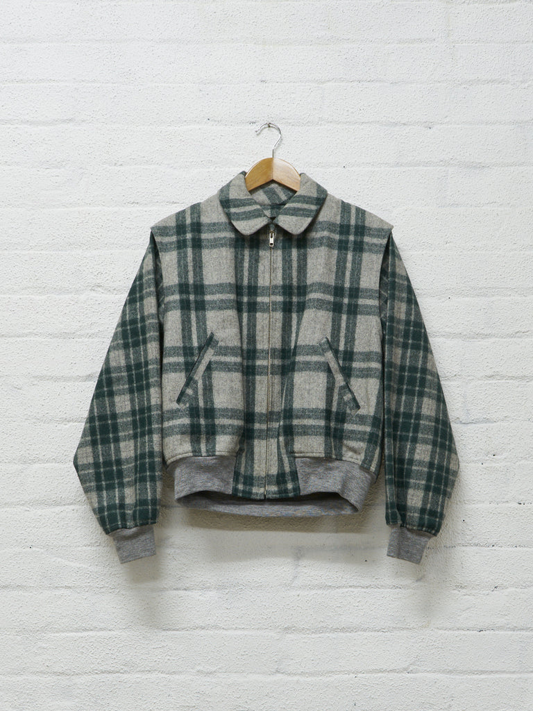 comme des garcons homme plus green / grey plaid detachable liner bomber jacket - AW1989