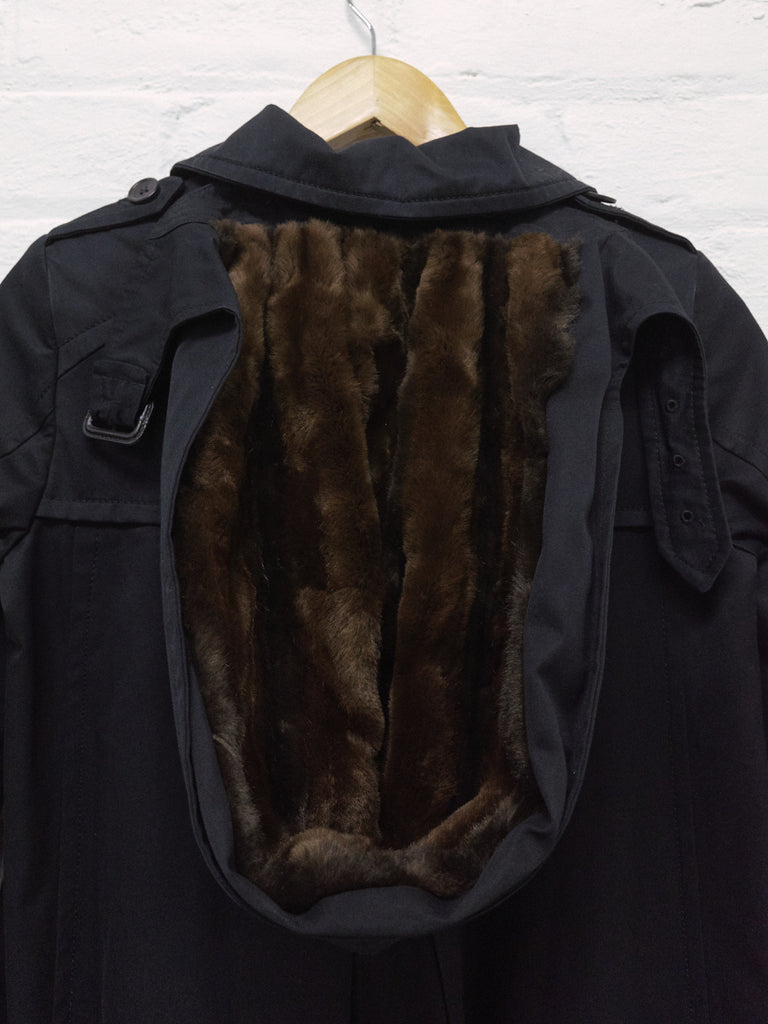 Veronique Branquinho washed black cotton detachable fur hood coat - womens 36