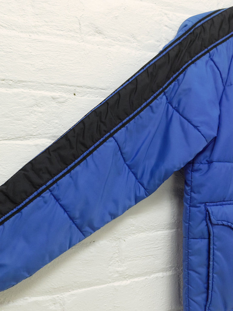 Neighborhood 2001 blue nylon quilted contrast sleeve panel jacket - mens M S
