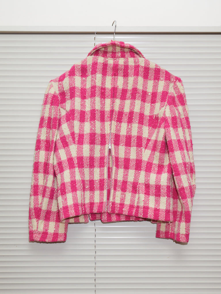 Comme des Garcons 1991 pink cream wool check zipped seam peacoat - womens S