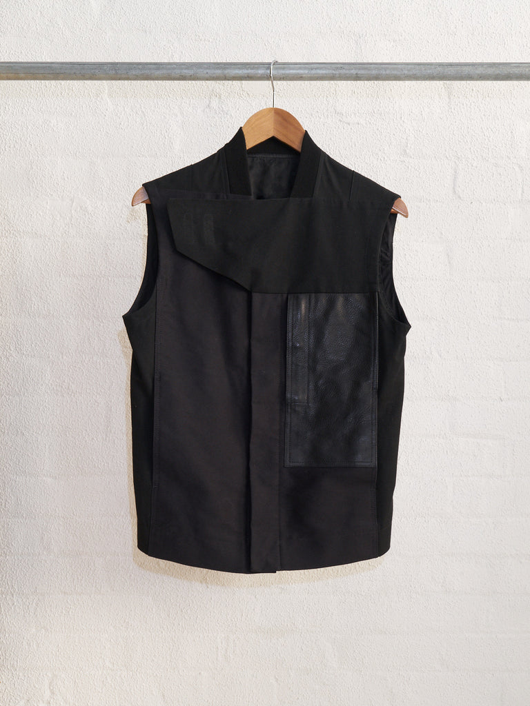 rick owens black multi fabric leather pocket vest