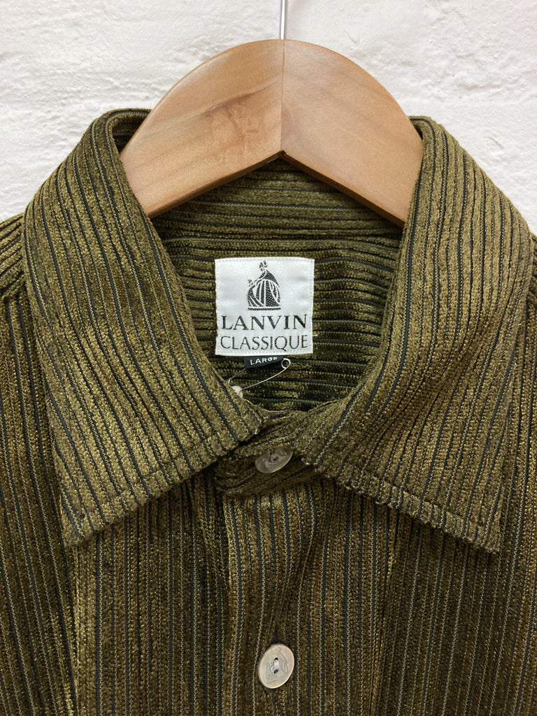 Lanvin classique gold / brown polyester corduroy shirt - mens L M