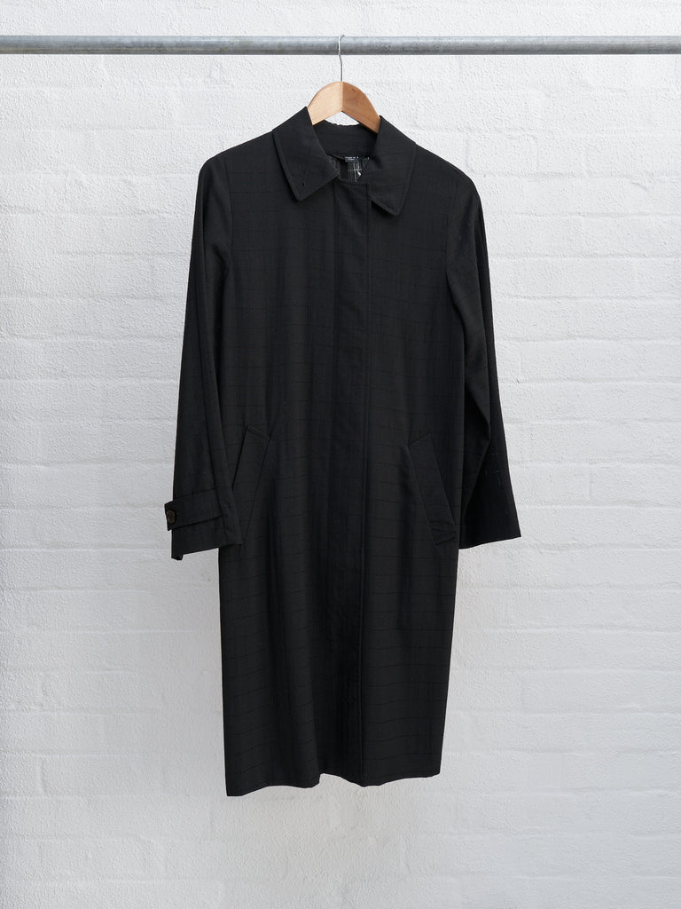 Helmut Lang 1990s 2000s black semi-sheer covered placket coat - size 38