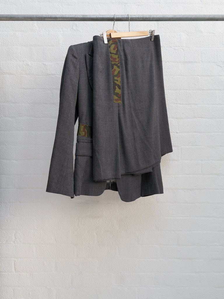 Comme des Garcons SS2001 grey wool camo tape skirt suit - womens M
