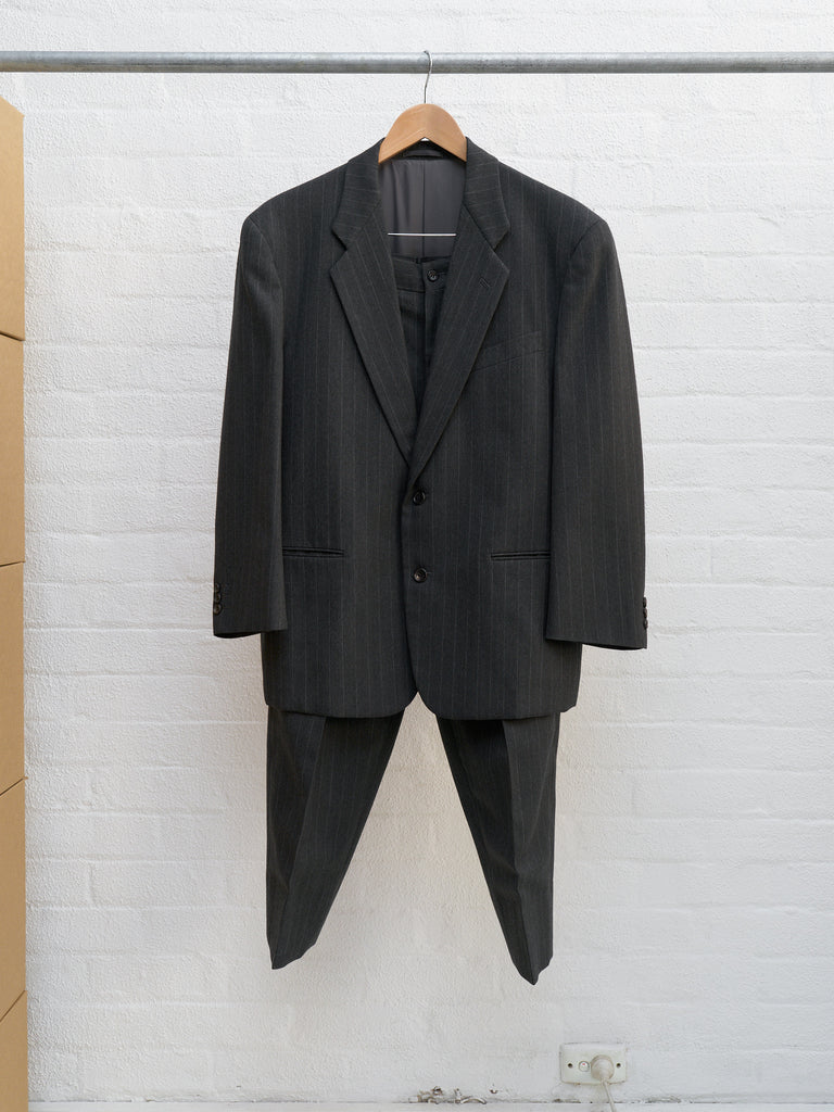 Comme des Garcons Homme Plus 1990 grey wool stripe 2 button suit - mens S