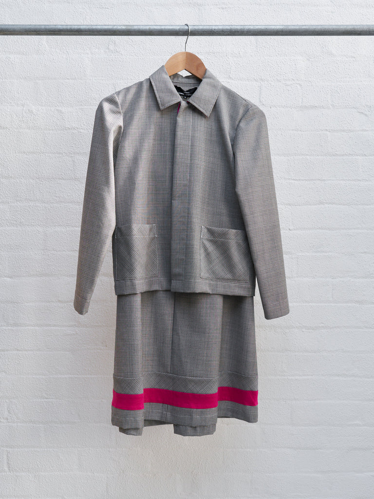 Tricot Comme des Garcons 2000 grey wool pink contrast skirt suit - womens M