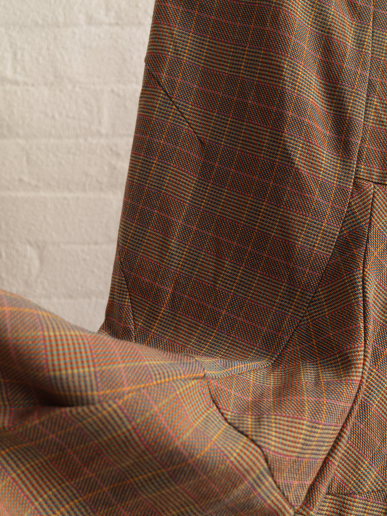 Junya Watanabe Comme des Garcons 1997 orange wool check curved seam skirt - M
