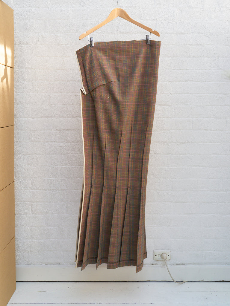 Junya Watanabe Comme des Garcons 1997 orange wool check strapless dress - sz S