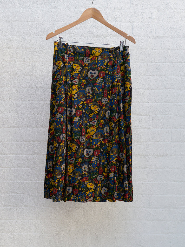 Jean Paul Gaultier 80s-90s multicoloured face print vest skirt set - sz M L
