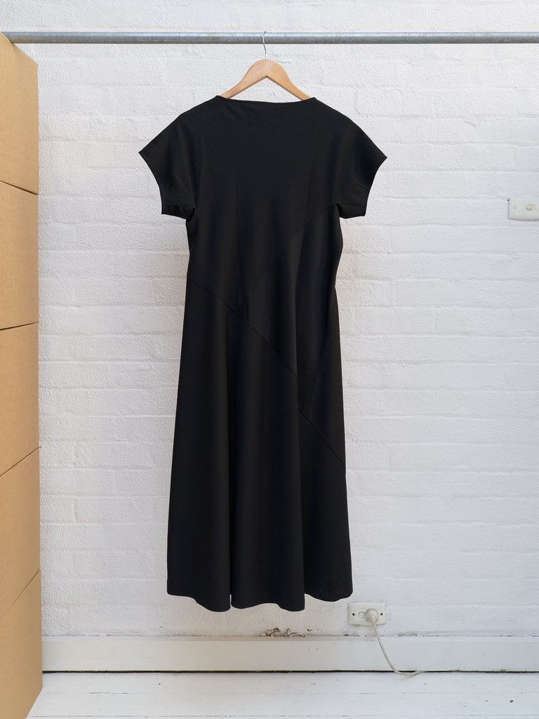 Comme des Garcons 1992 black wool gabardine short sleeve panelled dress - sz M