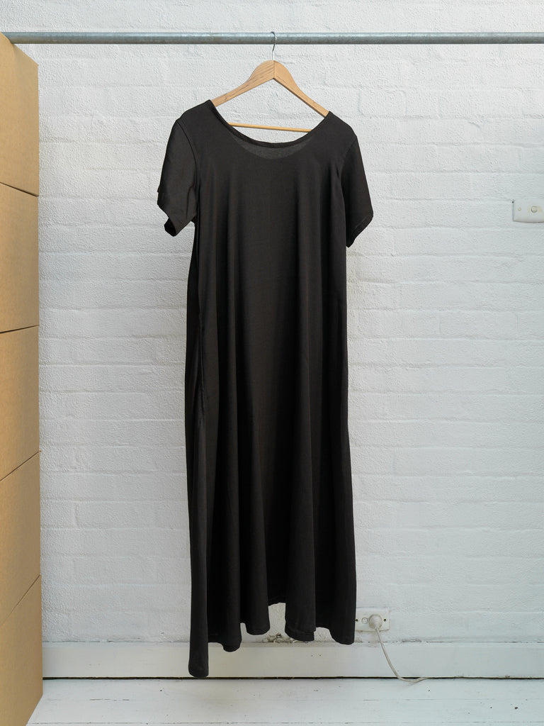 Y's Yohji Yamamoto AW1999 black poly rayon short sleeve maxi dress - approx M L