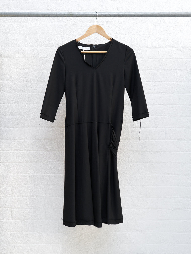 Veronique Branquinho black wool raw edge cut fabric half sleeve dress - size 36