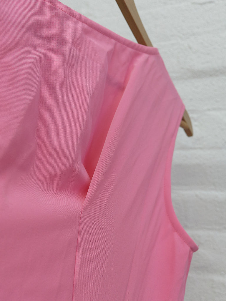 Comme des Garcons 1995 pink polyester flared ruffled sleeveless dress - size M