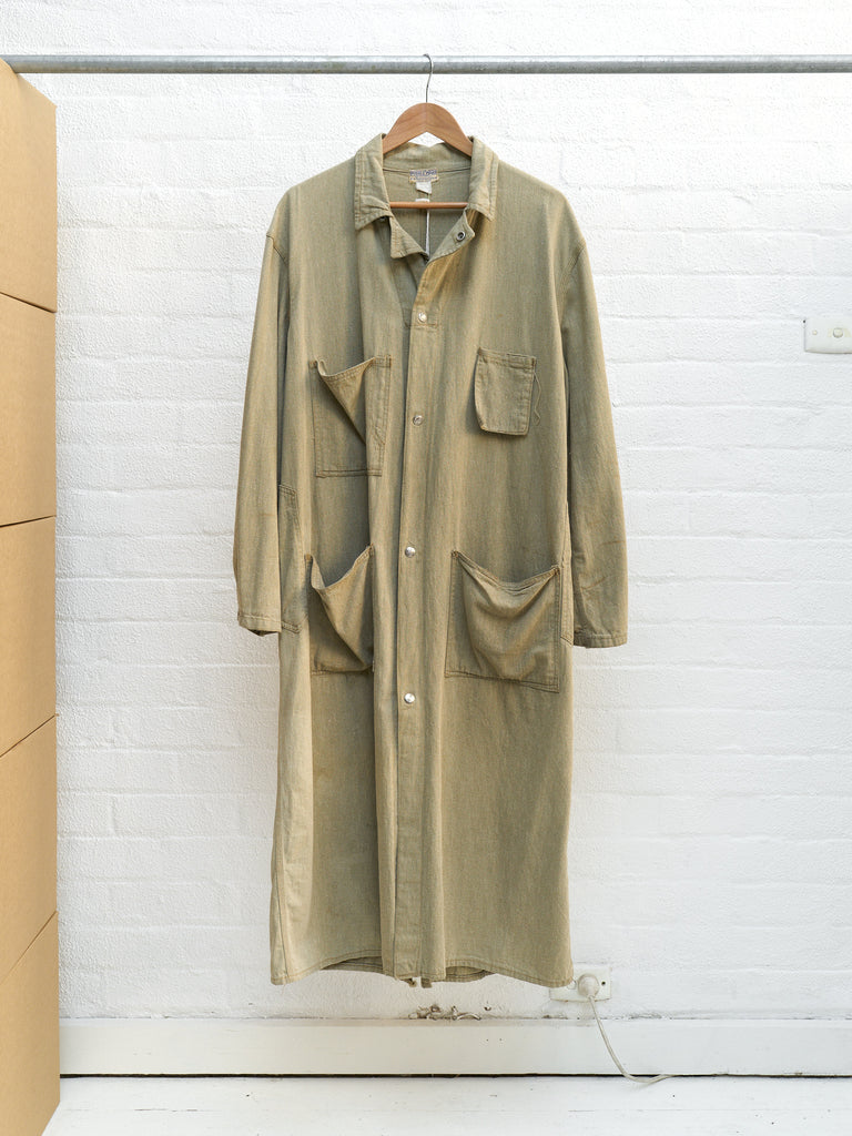 Dubbleware 1930s-40s beige cotton multi pocket chore coat - size M L