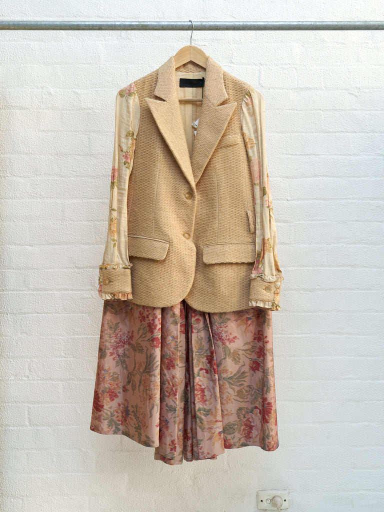Dirk van saene AW2001 beige layered multi-floral pullover coat dress - size 38 S