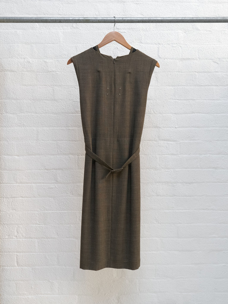Maison Martin Margiela 1990s brown wool check facing detail sleeveless dress 38