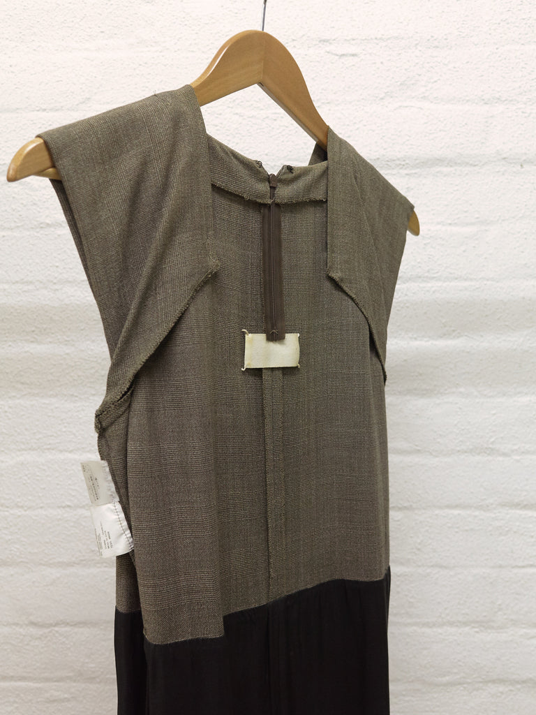 Maison Martin Margiela SS2001 brown wool check facing detail sleeveless dress 38
