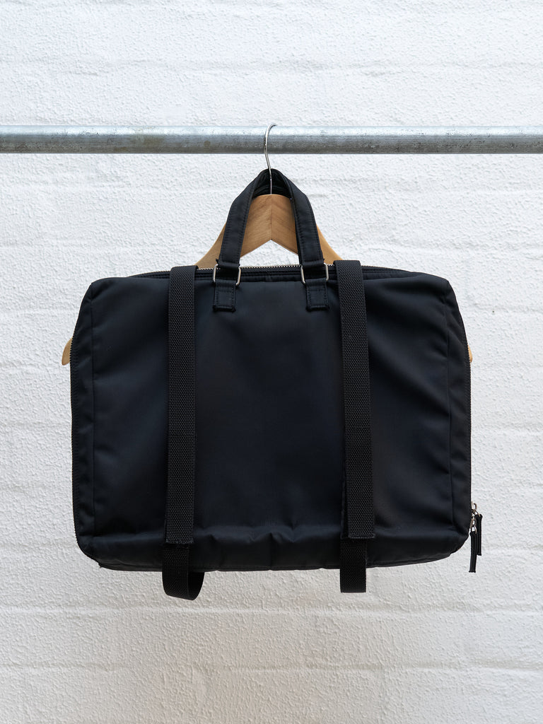 Helmut Lang 1990s-2000s black nylon two way briefcase backpack
