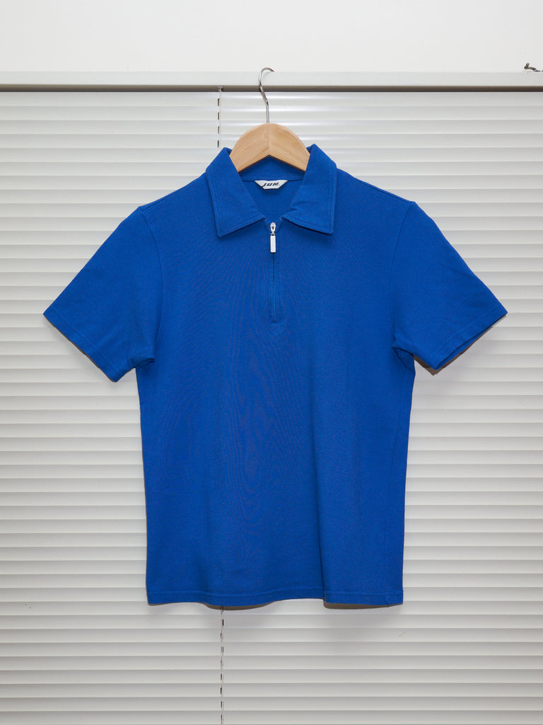 jun men blue cotton zip neck polo shirt - 1980s