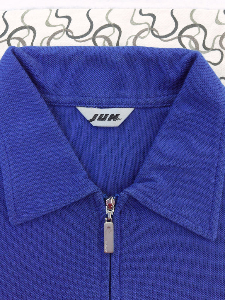 Jun Men 1980s blue cotton zip neck polo shirt - mens XS S