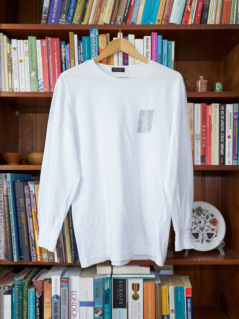 comme des garcons homme plus white cotton leaf motif longsleeve top - 1992