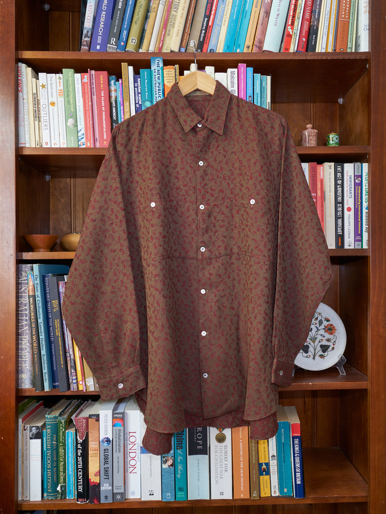 Y's for men red/brown/gold patterned wool overshirt - early 1980s