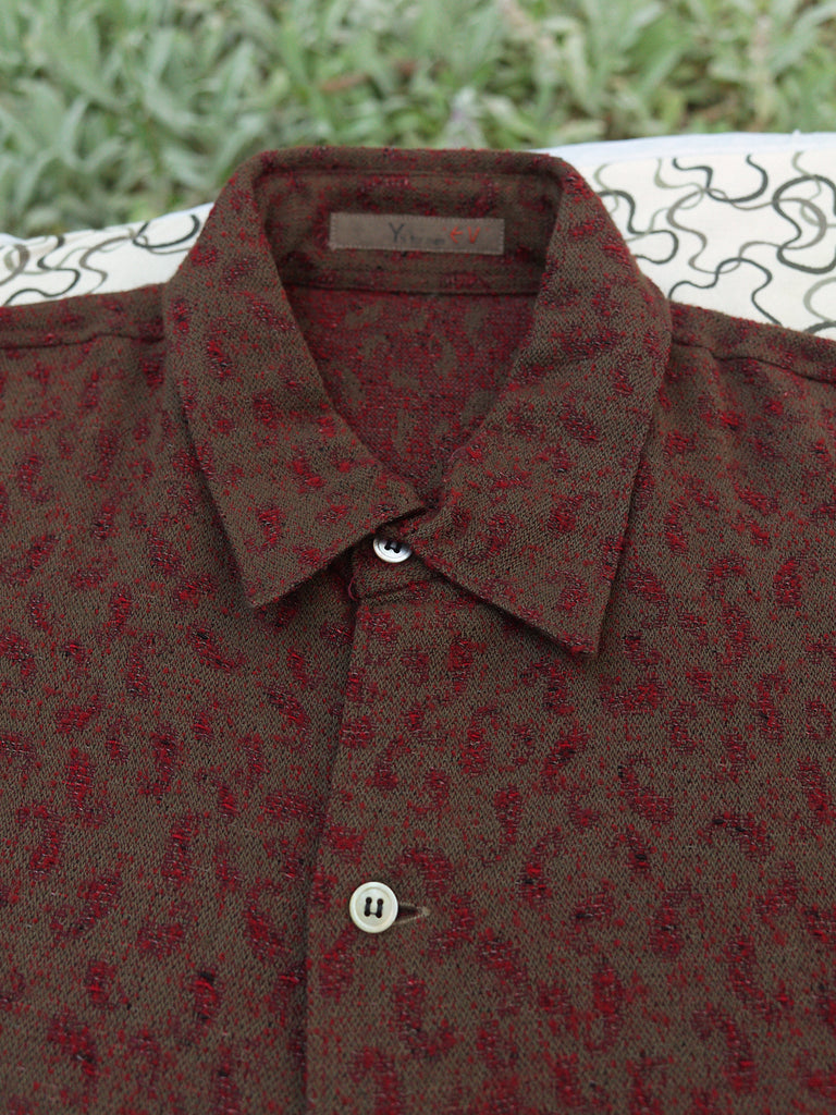 Y's for Men Yohji Yamamoto 1980s red/brown/gold wool over shirt - mens M L XL