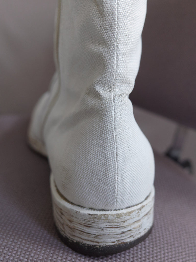 Maison Martin Margiela 2000s white painted canvas side zip boots - size 43